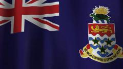 Flag of the Cayman Islands Blows Slowly in the Wind Stock Footage