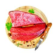 Meat beef with parsley on round board top Stock Photos