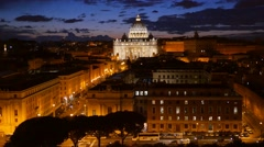 St. Peter's Basilica, Ponte Sant Angelo Bridge, Vatican. Stock Footage