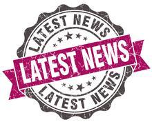 latest news grunge violet seal isolated on white - stock illustration