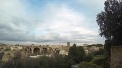 Views Over Rome - With Historic Colosseum,  Forum Romanum, & Palatine Hill Stock Footage