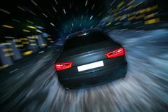 car night winter - stock photo
