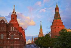 Moscow Kremlim and Historical Museum on sunset. Stock Photos