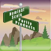 Marketing sign of nominal scale and parity products Kuvituskuvat