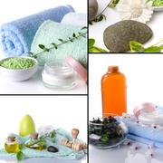 Collage of body care and spa products Stock Photos