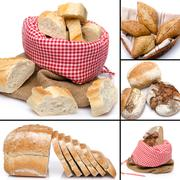 Collage of assortment of bread - stock photo