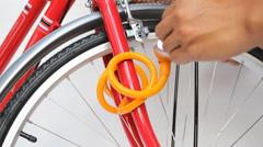 Bicycle lock anti-theft key Stock Footage