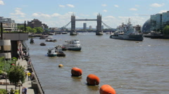 Busy Thames River at Daytime Tilt Stock Footage