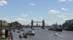 Busy Thames River at Daytime Stock Footage