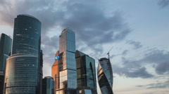 4k Time lapse of Moscow International Business Centre, Moscow-City, sunset. Stock Footage