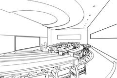 outline sketch of a interior - stock illustration