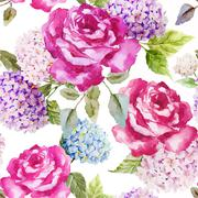 Hydrangea and roses Stock Illustration