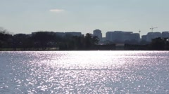 View of city from water in Washington D.C. - stock footage