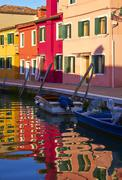 Multicolored houses on Burano island. Stock Photos