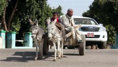 DONKEY & CART CROSS ROAD, NAGAA EL-SHAIKH ABOU AZOUZ, EGYPT - stock footage