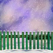 snowy old green wooden fence and falling snow - stock illustration