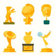Stock Illustration of illustration of lady statue trophy on white background