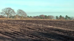 Ploughed field rural Cheshire England Stock Footage