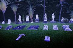 SINGAPORE Ancient headstones mark graves at this cemetery near Stock Photos