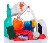 Cleaning  products with cleaning material Stock Photos