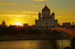 Moscow,  Cathedral of Christ the Savior. - stock photo