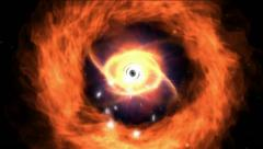 eye in fire ring - stock footage