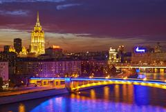 Moscow skyline at night. Stock Photos