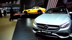 Mercedes-Benz S-Class S65 AMG Coupe and Mercedes-AMG GT sports car Stock Footage