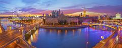 Moscow skyline panorama at dusk. - stock photo