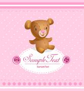 Baby arrival card for baby girl - stock illustration