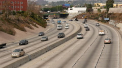 Time Lapse View of Traffic on Busy Freeway in Downtown Los Angeles Stock Footage
