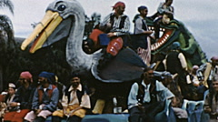 Tampa 1959: float at Gasparilla parade of Pirates - stock footage