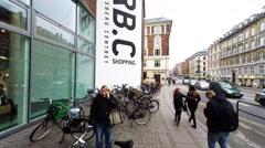 Entrance to shopping center Frederiksberg in Copenhagen Stock Footage