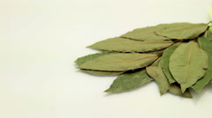 Bay leaf tracking on white Stock Footage