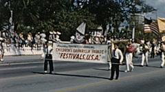 Tampa 1959: childrent Gasparilla parade of Pirates - stock footage