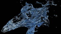 Close-up view of blue water splashing in slow motion, on black (FULL HD) Stock Footage