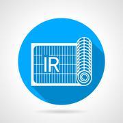 Blue flat vector icon for IR heated floor - stock illustration