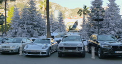 MONACO: Parking at the Monte Carlo Casino Stock Footage