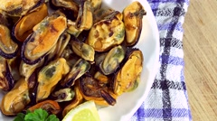 Portion of Mussels (seamless loopable) Stock Footage