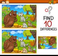 Finding differences game cartoon Stock Illustration