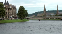 Scotland city of Inverness 038 cityscape with bridge over river Ness - stock footage