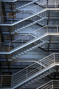 evacuation metalic stairs - stock photo