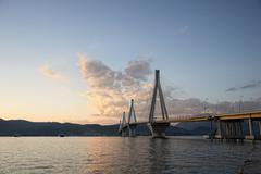 Bridge crossing Corinth Gulf strait Stock Photos