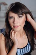 Magnificent portrait of a beautiful young woman with perfect skin closeup Stock Photos