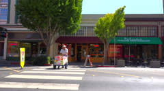 Establishing shot of a small retail storefront business district. Stock Footage