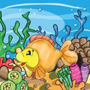 Illustration of a happy goldfish Stock Illustration
