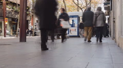 People Walking On Busy City Street Fast Stock Footage