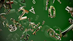 Abstract flying variables numbers and symbols on green - stock footage