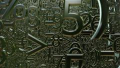 Abstract variables numbers and symbols in dark green - stock footage