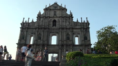 Timelaps Ruins of St. Paul's in Macau in the front of facade-Dan Stock Footage